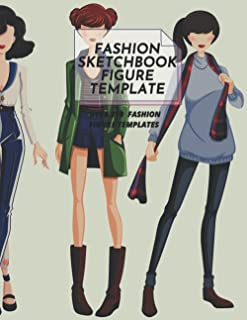 Fashion Sketchbook Figure Template: fashion coloring templates and clothes design: Female Figure Template for Easily Sketc...