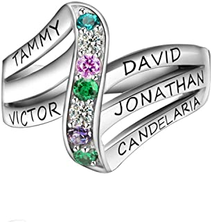 Best mothers rings heart shaped stones Reviews