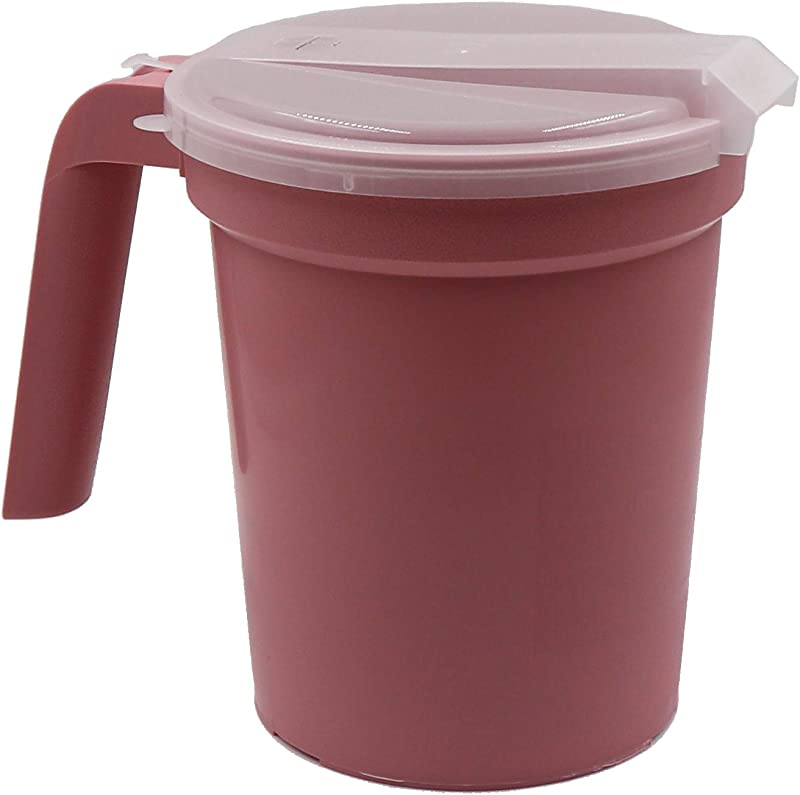 Healthstar Patient Non Insulated Plastic Pitcher With Straw Port Lid Pink 32 Ounce 3 Pack