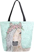 Horse Flower Large Women Canvas Tote Bags Casual Shoulder Bag Handbag for Girl Blue Funny Animal Floral Wreath Grocery Shopping Bag Books Laptop Gym Bags for Outdoor School Work Travel Beach Sports