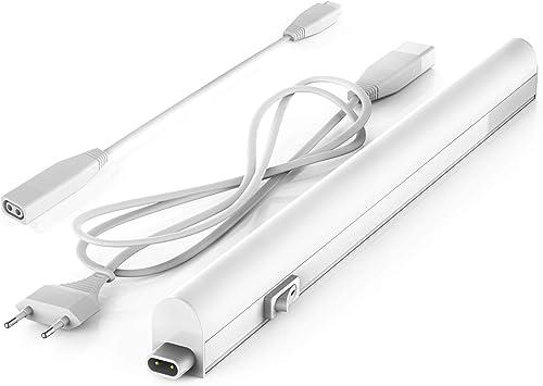 B.K.Licht réglette LED pour cuisine et atelier, platine LED 4W, longueur 313mm, 400 Lm, lumière blanche neutre 4000K