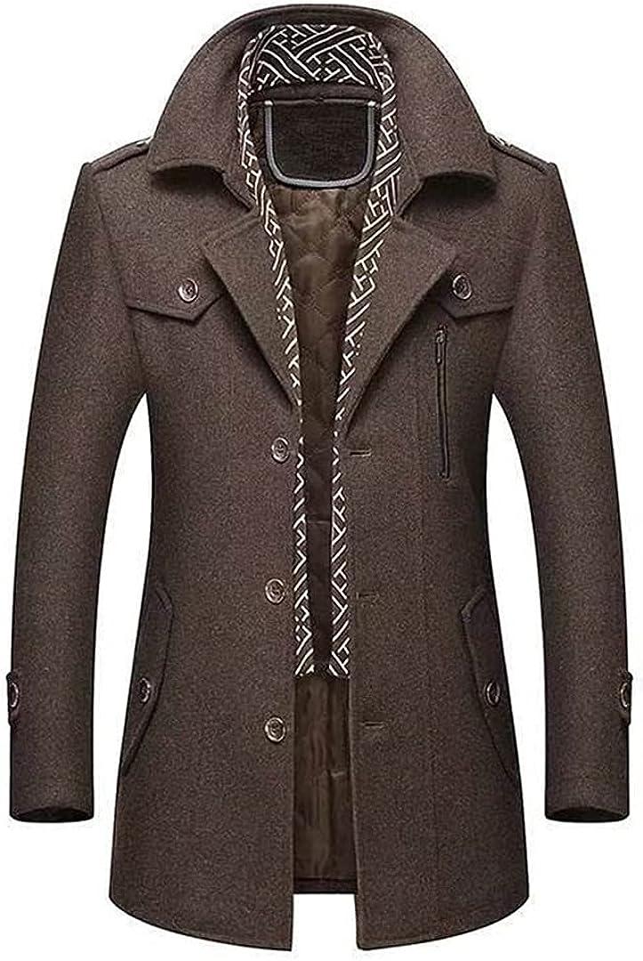 WinterWoolJacketMen Cotton-Padded Middle Long Thick Warm Male Trench Coat Overcoat Woolen Coats