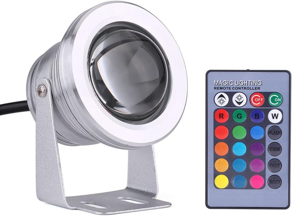 estanque jard/ín pecera l/ámpara LED impermeable multicolor para acuario Luz LED sumergible a prueba de agua Black luces de estanque con control remoto