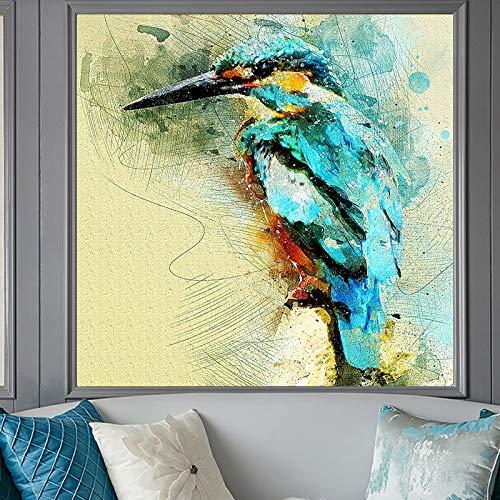wZUN Póster y Grabado Mural Arte Lienzo Pintura Abstracta Acuarela colibrí decoración para Sala de Estar Pintura 50x50cm