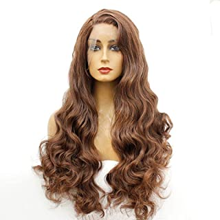 Dmqpp Women's Lace Front Blonde Wig Long Wavy Natural Looking Synthetic Wig Pre Plucked Natural Hairline Fashion Wig (Colo...