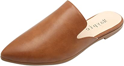 MAYPIE Womens Flat Mules Closed Pointed Toe Slip On Loafer Slides Backless Shoes