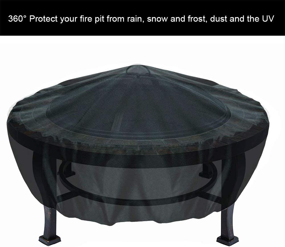 36 x 12, Black WOMACO Round Fire Pit Cover,Outdoor Waterproof Weather Resistant Patio Round Table Cover