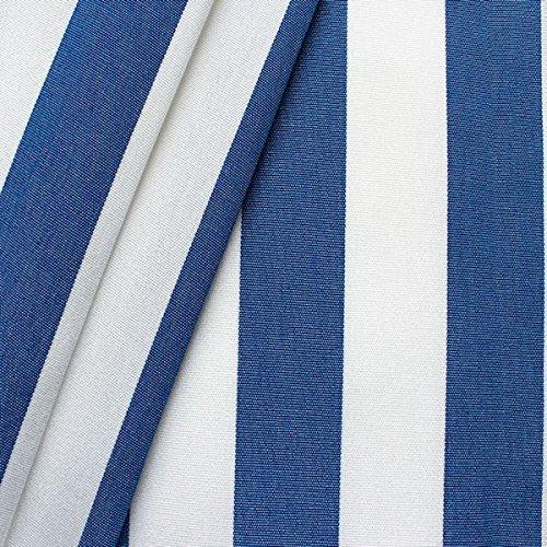 STOFFKONTOR Outdoor Stoff Markisenstoff - Outdoorstoff Meterware wasserabweisend - Sonnenschutz Stoff Blickdicht und farbecht - Blau-Weiss