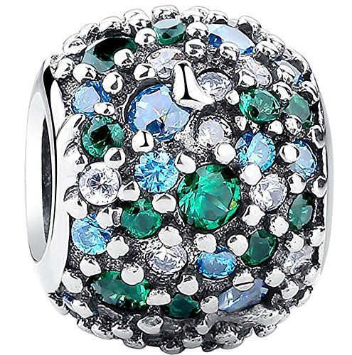 SaySure - 925 Sterling Silver Ocean Mosaic Charm Green CZ