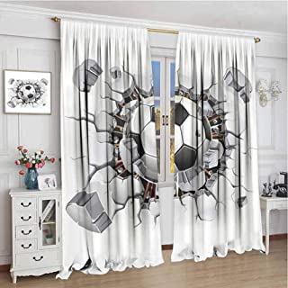 GUUVOR Sports Decor Shading Insulated Curtain Soccer Ball and Old Plaster Wall Damage Destruction Punching Illustration Soundproof Shade W108 x L108 Inch