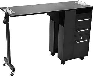 Taylor Manicure Table Versatile Foldable Cart Trolley Nail Salon Furniture BLACK