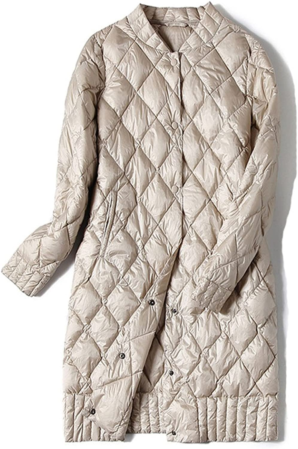 Allonly Women's Slim Fit Ultra Light Weight Single Breasted Long Puffer Jacket Down Coat