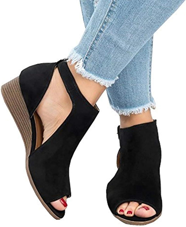 Chellysun kvinnor Peep Toe Ankle Buckle Cut Out Out Out Wedge Sandals Strap Booslips Platform Sandal  handla online idag