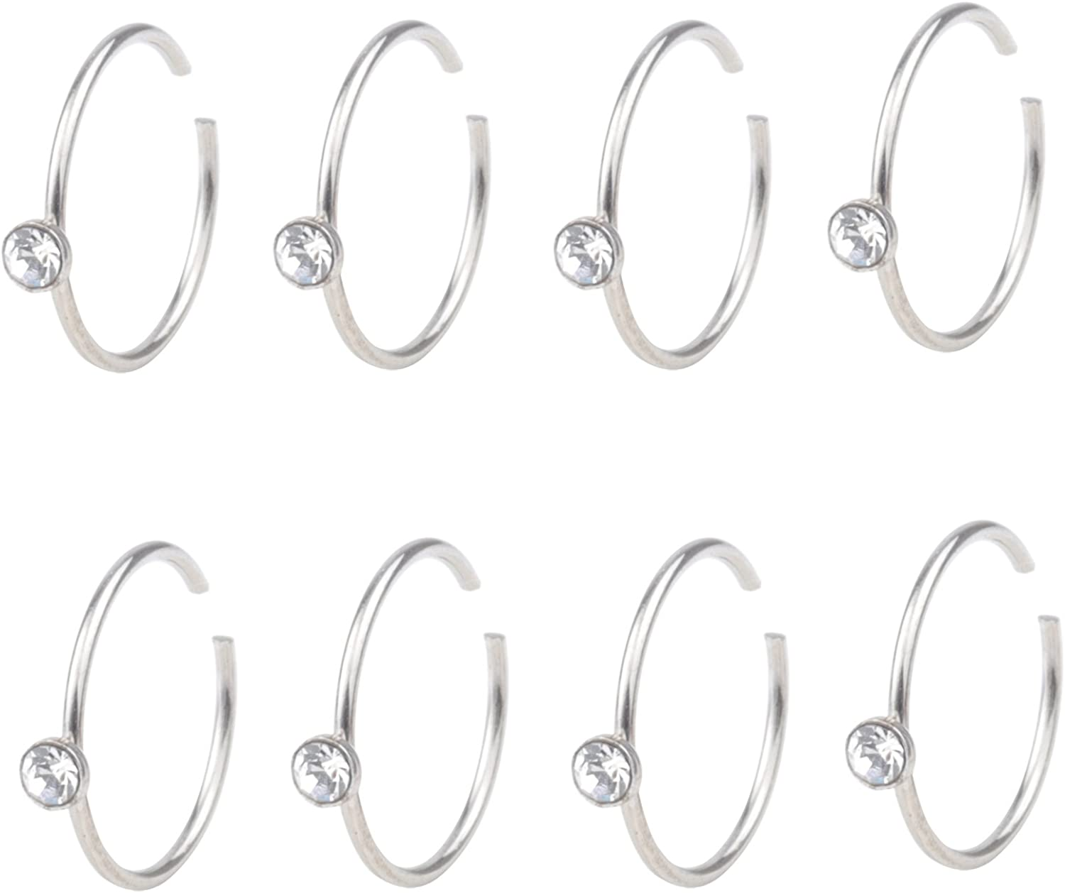 FY 20G 8pcs Surgical Steel Nose Hoop Clear Cubic Zirconia Ring Body Jewelry Piercing 10mm