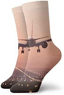 tyui7, Calcetines de compresión antideslizantes para aterrizaje de aviones Calcetines deportivos acogedores de 30 cm para hombres, mujeres y niños
