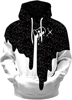 Skyyeox Men's Gaphic 3D Digital Printing Hooded Big Pocket Pullover Plus-Size Sweatshirts