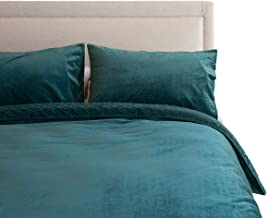 Canningvale Velluto Velvet Queen Embroidered Reversible Quilt Cover Set Azzurrite Teal Bedroom