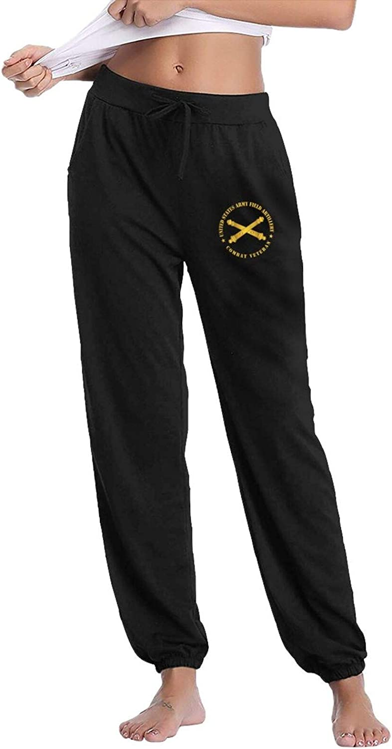 RONGS Us Army Field Artillery Veteran W Branch Women's Comfy Casual Pants Lounge Sweatpants Basic Drawstring Trousers