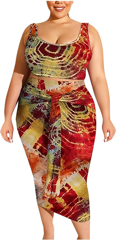 QTOCIO 2 Piece Plus Size Mini Dress for Women,Summer Off Shoulder Sexy Bodycon Clubwear Sling Tight Buttock Suit 5XL