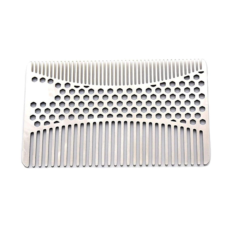 遅い警報簡単になめらかな、耐久性のあるステンレススチールの髪と髭の櫛 - 2個財布櫛 モデリングツール (色 : Silver)