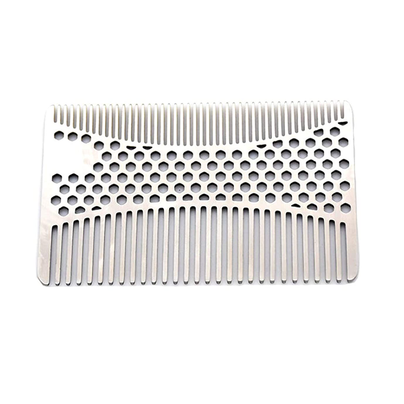 反発するアレンジ分配しますなめらかな、耐久性のあるステンレススチールの髪と髭の櫛 - 2個財布櫛 モデリングツール (色 : Silver)