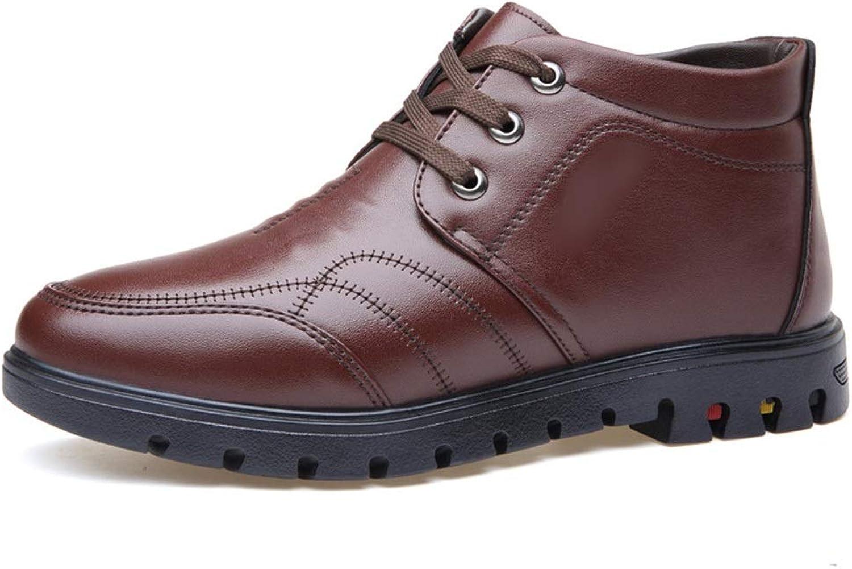 Men's Plus Velvet Mid Boots Men's shoes Men's Casual Martin Boots (color   Brown, Size   40)