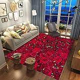 JINGMIAO Rosa/Roja Flores Rosa Impresión 3D Alfombras Decoración Boda...