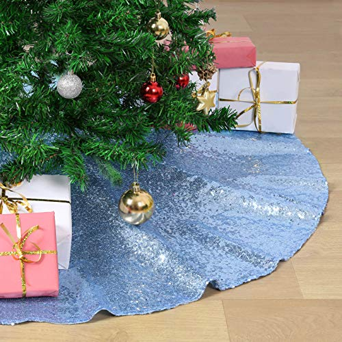QueenDream Small Christmas Tree Skirts Light Blue Luxury Mini Sequin Tree Mat 24 Inch Tree Skirt for Christmas Decoration New Year Party Holiday Decorations
