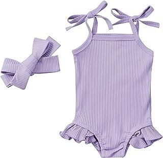 طفل الفتيات القطن رومبير الرضع أكمام التعادل النفس حزام بذلة الوليد كشكش ارتداءها مع عقال (Color : Purple, Kid Size : 18M)