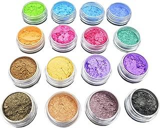 ULTNICE Glitter Powder Soap Dye Mica Powder Pigment Eyeshadow Lip Gloss Face Nail Art Nail Polish Pigment Powder Making Colorant Set 16PCS Random Color