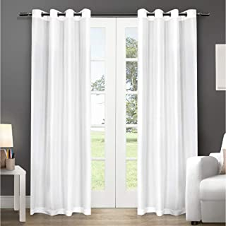 Exclusive Home Chatra Faux Silk Window Curtain Panel Pair with Grommet Top, Winter White, 54x108, 2 Piece