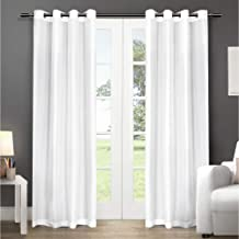Exclusive Home Curtains Chatra Faux Silk Window Curtain Panel Pair with Grommet Top, 54x96, Winter White, 2 Piece