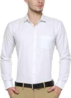 BEING FAB Men's Solid Cotton Blend Regular Fit Formal White Shirt