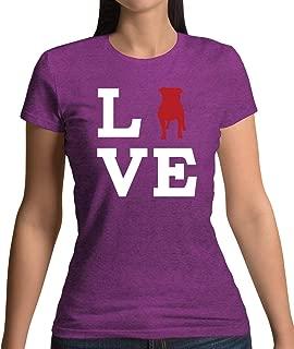 Love Staffordshire Bull Terrier Dog Silhouette - Womens T-Shirt - 13 Colours