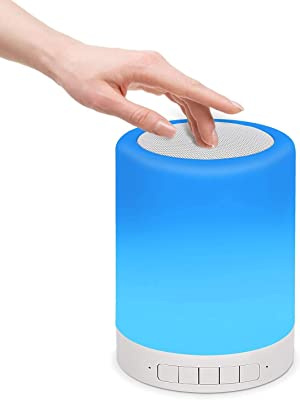 Lámpara para mesita de noche con altavoz Bluetooth, sensor táctil, luz nocturna regulable, luz cálida y 7 cambios de color, portátil para exteriores