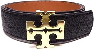 Tory Burch - Cinturón de piel auténtica para mujer con logotipo cuadrado de 1,27 cm, color negro y café