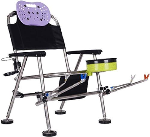 Hxx Chaise de pêche Multifonction pliée, Chaise de Plage de Loisirs en Plein air, Chaise de pêche en Acier Inoxydable, Articles de pêche, Table et Chaise de Camping, 55X55X75cm