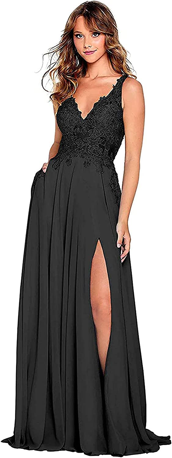 Women's Bridesmaid Dresses for Wedding Party V Neck Formal Prom Gowns Long Chiffon Lace Splits with Pockets