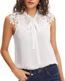 Wintialy Women Summer Sleeveless Bow Tie Lace Thin Chiffon Blouse Top Tank Vest Shirt