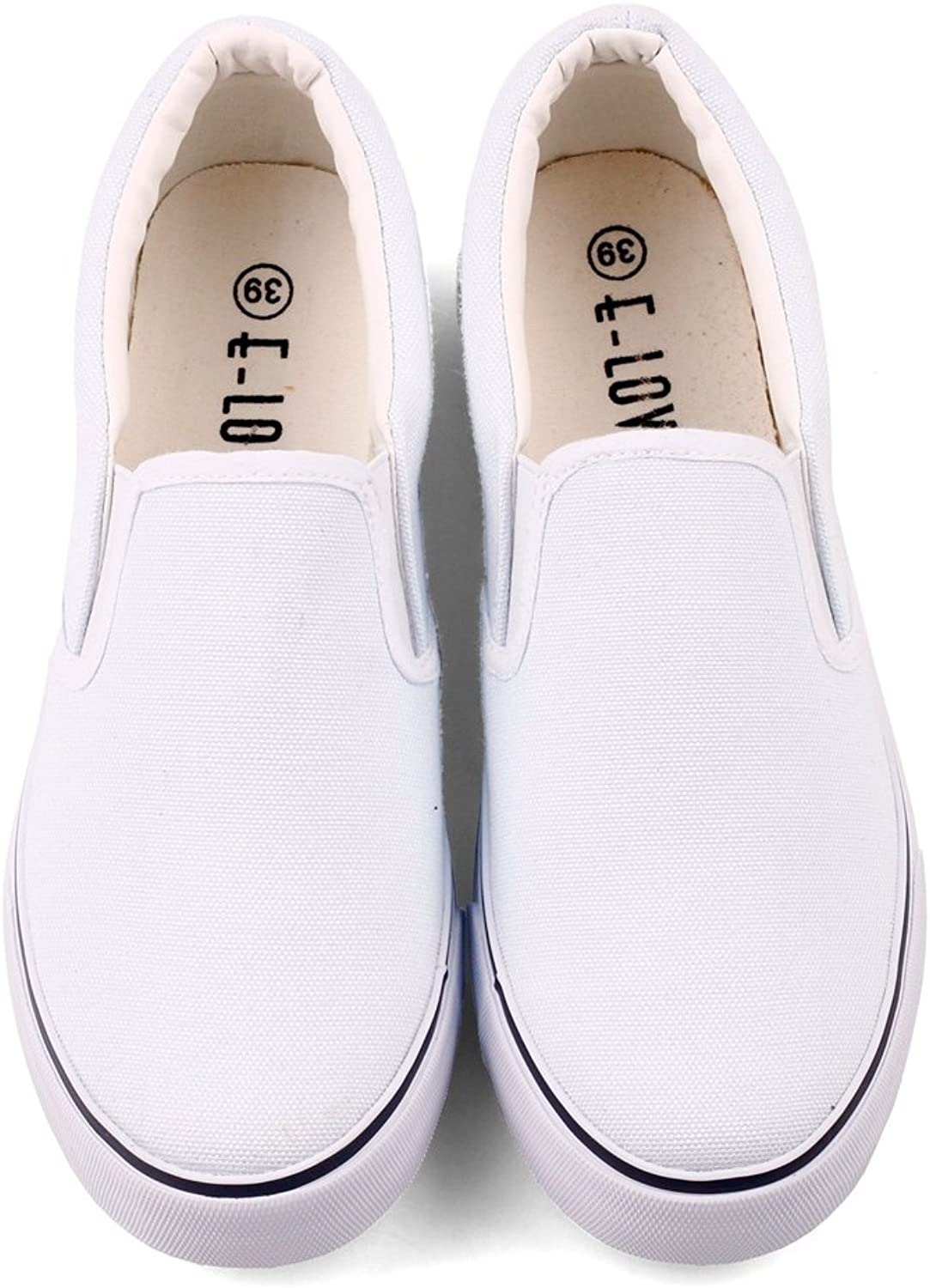 ElovForU White Low Top Blank Canvas shoes Adults Young Casual Loafers Women Men Summer Spring Slip On Flats Sports shoes Footwear (9 M US Women   7.5 M US Men  CN41, White)