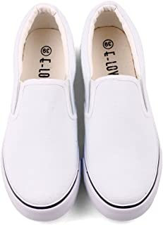 White Black Slip On Low Top Canvas Shoes Loafers Hand Painted Women Sneakers