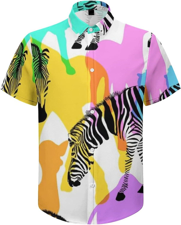Mens Button Down Shirt Wildlife Zebra Animal Casual Summer Beach Shirts Tops