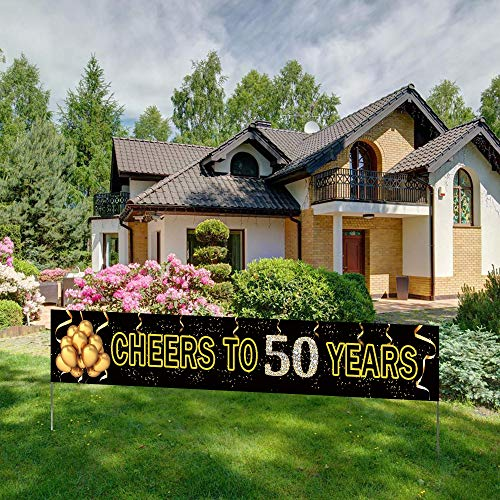 Large Cheers to 50 Years Banner, Black Gold 50 Anniversary Party Sign, 50th Happy Birthday Banner(9.8feet X 1.6feet)