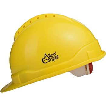 Allen Cooper Safety Helmet SH-722, Shell with Ventilation, Plastic Cradle with Ratchet adjustable Headband - YELLOW
