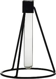 Black Metal and Glass Beaker Bud Vase - 4.75 x 6.5 Inches - Tempo Single Stem Industrial Flower Vase - Modern Global Decor for Home, Office, or Wedding