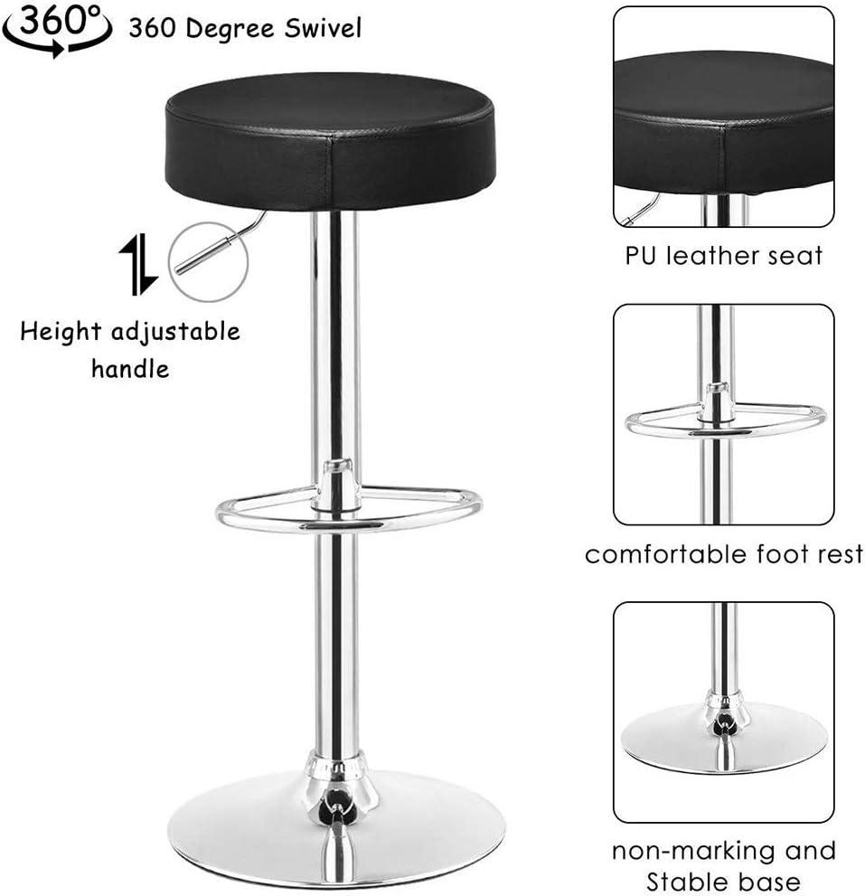 YANQ Chaise de Bar - Tabouret de Bar pivotant en Cuir PU - Chaise réglable en Hauteur - Tabouret de Bar avec Repose-Pieds en Chrome (Couleur : Noir) Noir