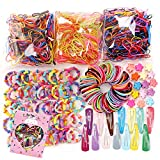 780PCS Color Clear Elastic Hair Bands Clips Mini Hair Claw Clips Rubber Bands Hair Ties Kit with Box for Girls Teens Children