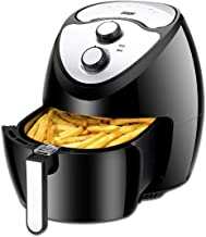Euhomy 5.8 Quart Fryer-1800W-Electric Oil-Less Fryer with Smart Time & Temperatu Cookbook, Black Air Cooker, 16.5 x 14.2 x 14.2 inches