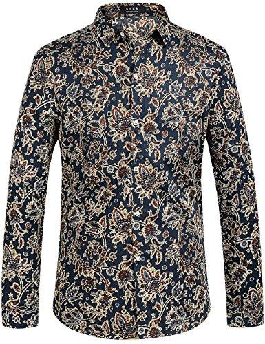 SSLR Herren Hemd Langarm Baumwolle Paisley Druck Freizeithemd Langarmhemd Regular Fit Shirts (Large, Navy)