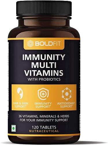 Boldfit Multivitamin For Men Women 120 Veg Tablets With Probiotics Vitamin C E Zinc For Immunity Biotin For Healthy Hair Skin Nails Immunity Booster